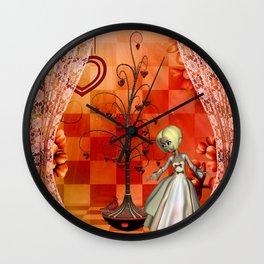 Cute little girl with heart tree Wall Clock
