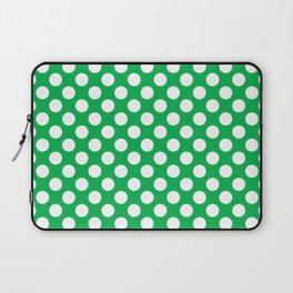 White Polka Dots with Green Background Laptop Sleeve