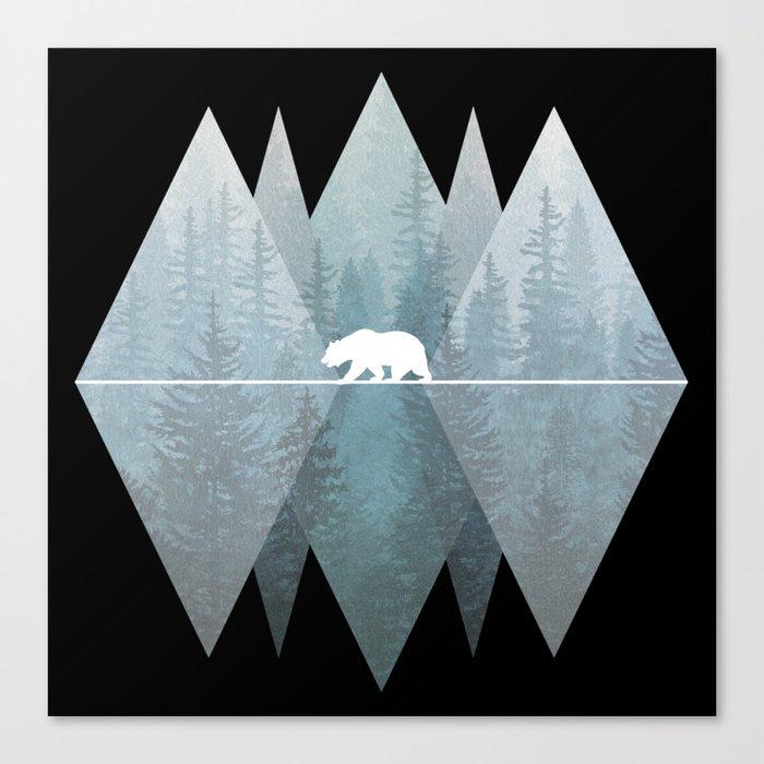 Misty Forest Mountain Bear Canvas Print