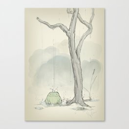 The frog under the rain Canvas Print