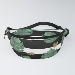 Tropical leaves pattern on stripes background Fanny Pack