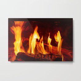 Wood burning in a fireplace Metal Print