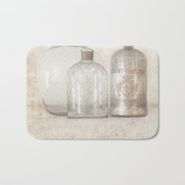 Vintage Bottles Art Illustration - Old Bottles Subtle Tones - Antique Bath Mat