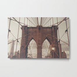 Moody Brooklyn Bridge Metal Print