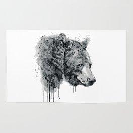 Bear Head Black and White Rug