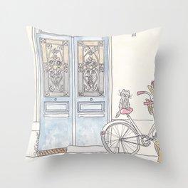 Tour de Kitty Blue Doors and Bicycle Throw Pillow