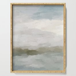 Gray Blue Sage Green Sunrise Abstract Nature Ocean Painting Art Print Wall Decor  Serving Tray