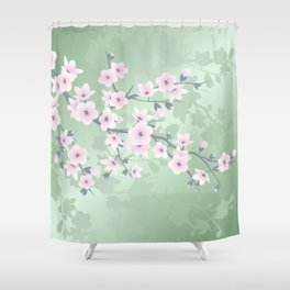 Pink Cherry Blossom Green Background Shower Curtain