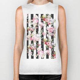 Bold pink watercolor roses floral black white stripes Biker Tank