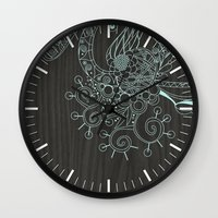 Tangle on dark wood Wall Clock