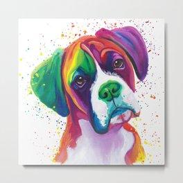 Rainbow Boxer Dog breeed Metal Print