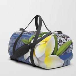 Blue Hawaiian Tapa and Plumeria Duffle Bag