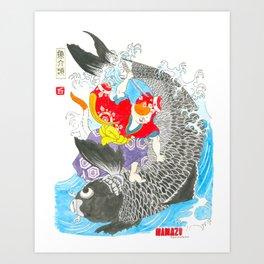 Namazu Samurai and Carp Art Print