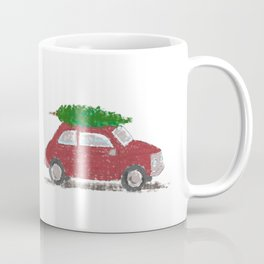 Merry Christmas // Vintage Car Carrying a Christmas Tree Coffee Mug