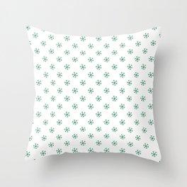 Cadmium Green on White Snowflakes Throw Pillow