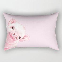 Sneaky Baby Pink Pig Rectangular Pillow