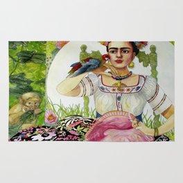 Frida Kahlo in the garden Rug
