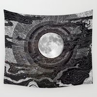 bright Wall Tapestries featuring Moon Glow by brenda erickson
