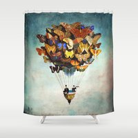 dreams Shower Curtains featuring Fly Away by Christian Schloe