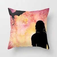 mother of dragons Throw Pillows featuring Mother of Dragons Silhouette over Red + Yellow by Jessica Barst