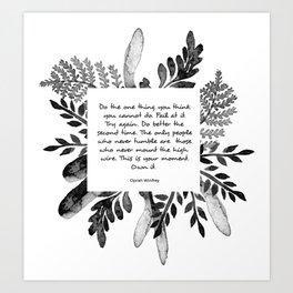 Black&White Watercolor Floral Quote Art Print