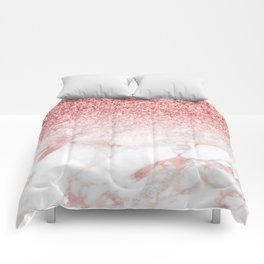 Rose-gold faux glitter and marble ombre Comforters