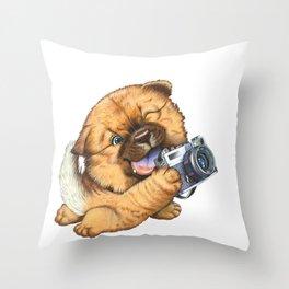 A little dog holding a camera Throw Pillow
