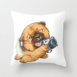 A little dog holding a camera Throw Pillow