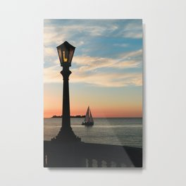 Colonia Vibes. Beautiful sunset scene with a boat in Colonia del Sacramento, Uruguay Metal Print