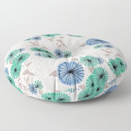 Blue & Green Flower Pattern Floor Pillow