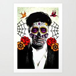 Musician Sugar Skull Painting Art Print