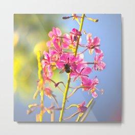 Summer Atmosphere Pink Flower Blue Sky #decor #society6 Metal Print