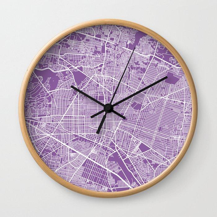 Guadalajara map lilac Wall Clock