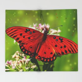 Red Butterfly Throw Blanket