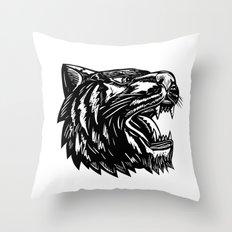 Tiger Growling Scratchboard Throw Pillow