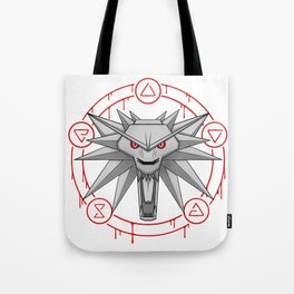 Witcher White Wolf Signs Medallion Tote Bag
