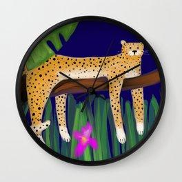 Cheetah in Jungle tree Wall Clock