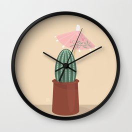 Cactus with parasol Wall Clock
