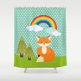 Fox, Rainbow , nursery decor , children gift, birthday gift Shower Curtain
