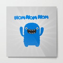 Funny & Cute Om nom nom nom - Monster Metal Print