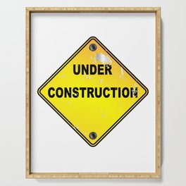 Yellow Under Construction Sign Serving Tray