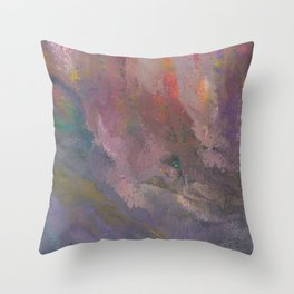 Rain Clouds on a Rainbow Sky Throw Pillow