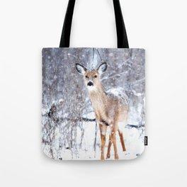 Deer In Snow Tote Bag