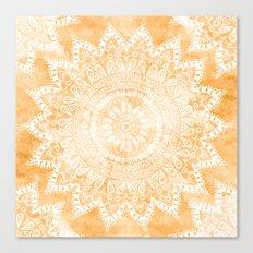 TANGERINE BOHO FLOWER MANDALA Canvas Print