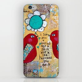 I love you a bushel and a peck, whimsical birds with flower iPhone Skin