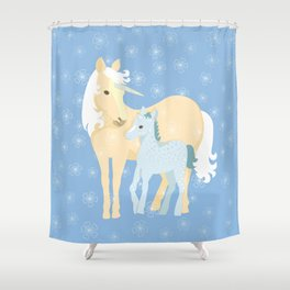 Unicorns. Mom and baby Shower Curtain