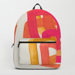 Funky Retro 70' Style Pattern Orange Pink Greindent Striped Circles Mid Century Colorful Pop Art Backpack