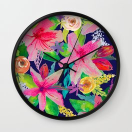 Neon Azeleas // Navy Wall Clock