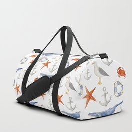 Watercolor nautical pattern Duffle Bag