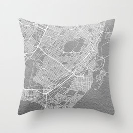 Silver Montreal map Throw Pillow